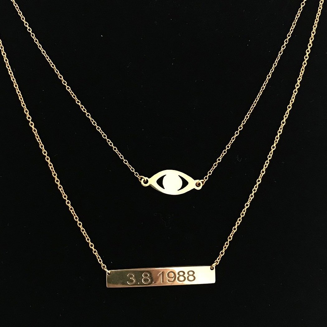 DOUBLE LAYER EVIL EYE & NAMEPLATE NECKLACE