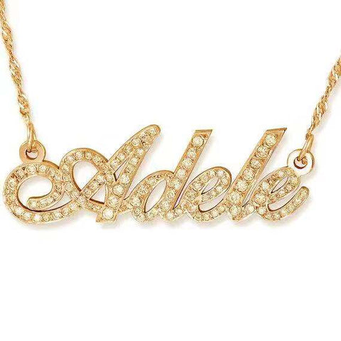 ROSE & NAMEPLATE NECKLACE