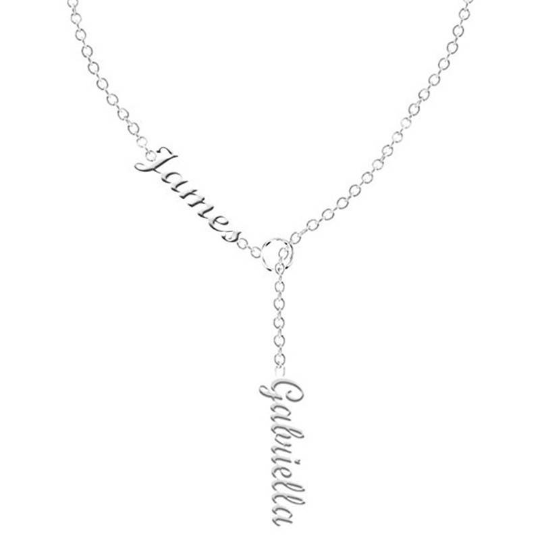 DOUBLE NAME LARIAT NECKLACE