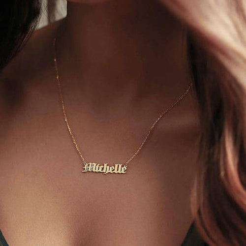 GOTHIC NAMEPLATE NECKLACE - GOLD
