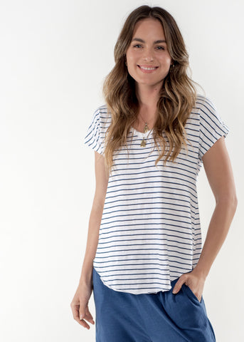 Sophia Cotton Tee - White / Indigo Stripe