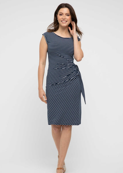 SALE - Bamboo Shell Dress - Navy / White Stripe