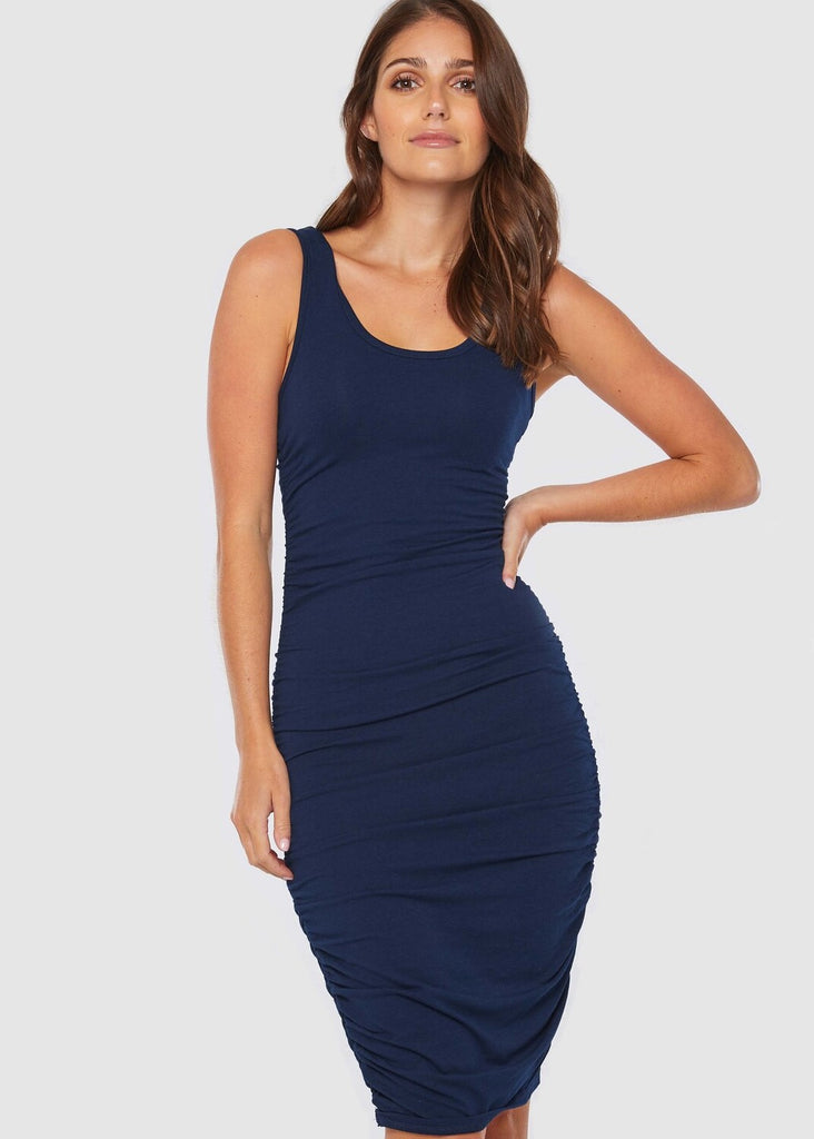 Bamboo Ruched Tank Dress - Navy