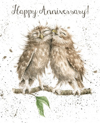 Happy Anniversary Owl Lovers art Card