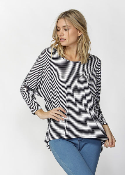 Milan 3/4 Sleeve Top - Navy / White Stripe