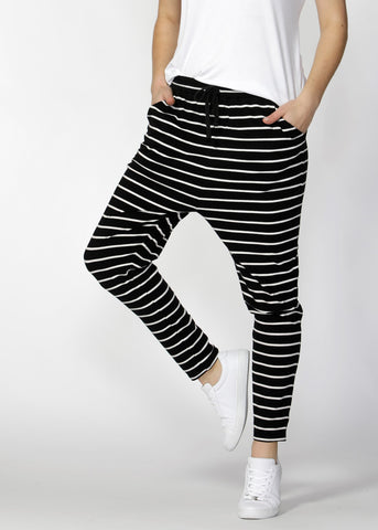 Jade Pant - Black / White Stripe