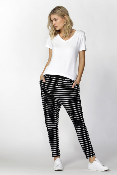 Jade Pant - Black / White Stripe - Betty Basics - Jeans / Pants - FOX AND SCOUT