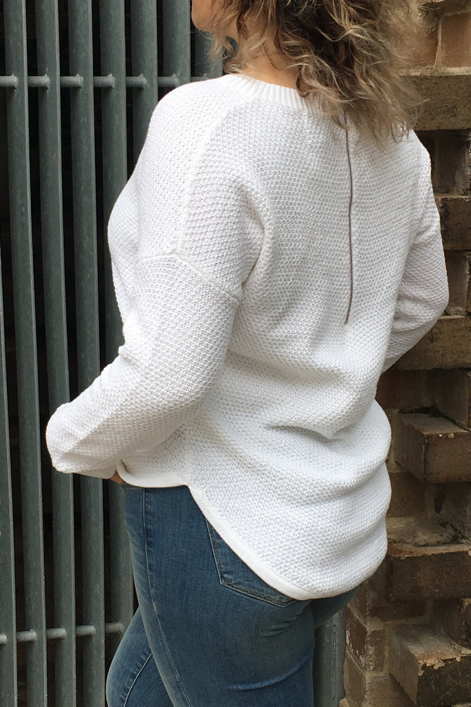 Zip Back Cotton Knit Winter White