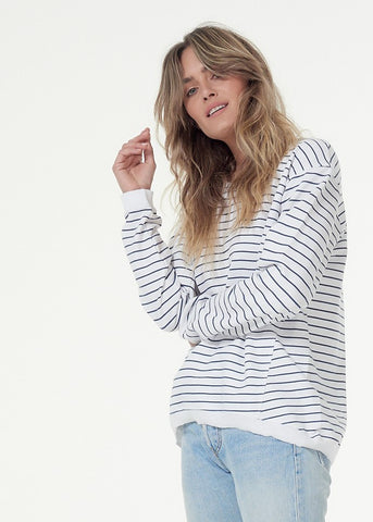 Lucy Cotton Sweater - White / Indigo Stripe