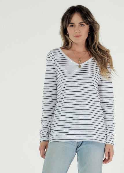Abigail Long Sleeve Cotton Tee - White / Indigo Stripe