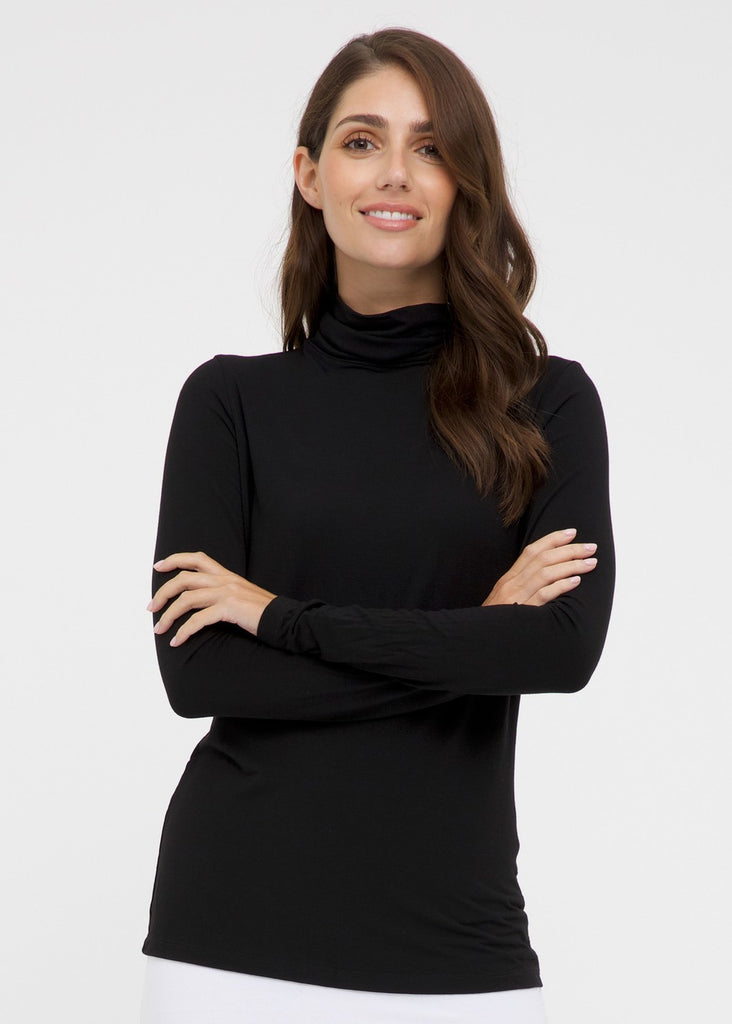 Bamboo Roll Neck Top - Black