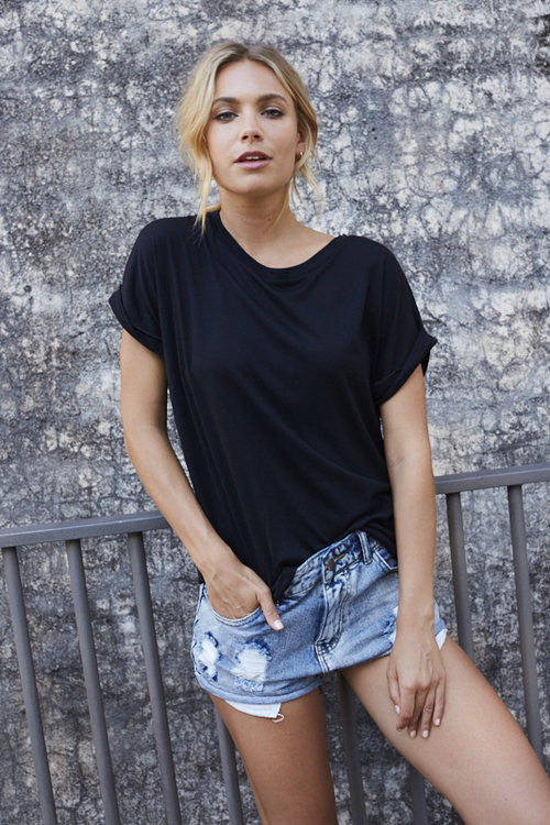 Roll Sleeve Tee - Black - Little Lies - Tops - FOX AND SCOUT