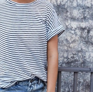 Oscar Roll Sleeve Tee - Navy / White Stripe - Little Lies - Tops - FOX AND SCOUT