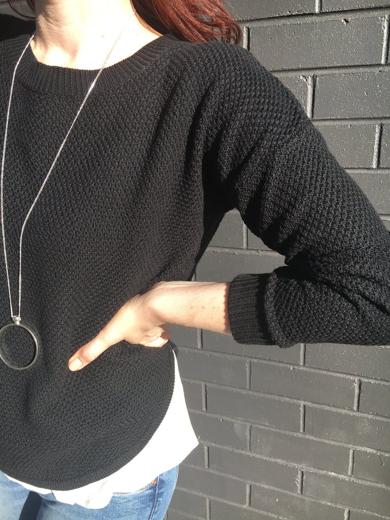 Zip Back Cotton Knit Black - Silence & Noise - Knits / Jumpers - FOX AND SCOUT
