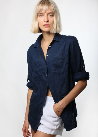 Linen Boyfriend Shirt - French Navy