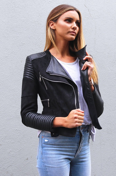 Bessy Biker Jacket - Black - Ivory & Chain - Coats / Jackets - FOX AND SCOUT