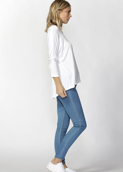 Milan 3/4 Sleeve Top - White - Betty Basics - Tops - FOX AND SCOUT