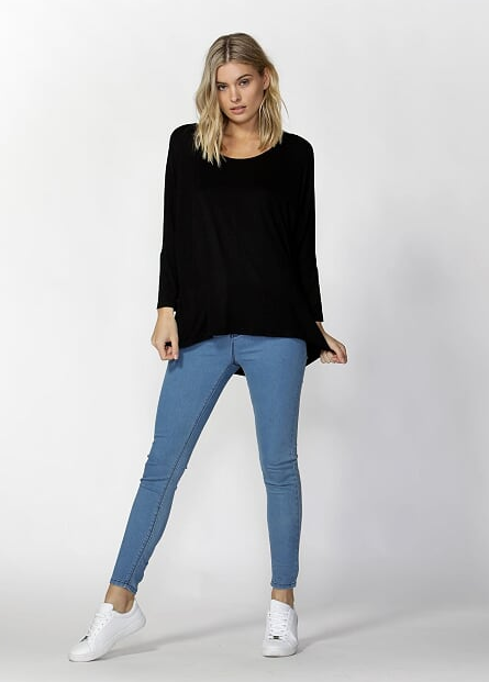 Milan 3/4 Sleeve Top - Black - Betty Basics - Tops - FOX AND SCOUT