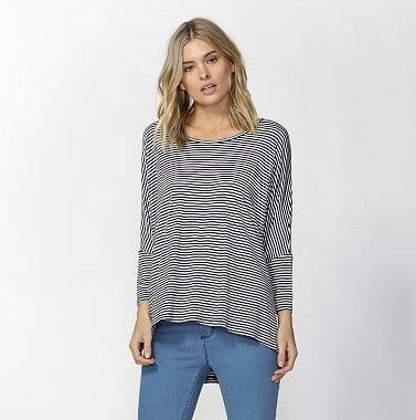 Milan 3/4 Sleeve Top - Navy / White Stripe - Betty Basics - Tops - FOX AND SCOUT