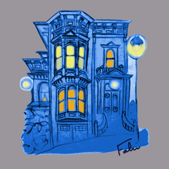 Blue Victorian San Francisco by Nathalie Fabri