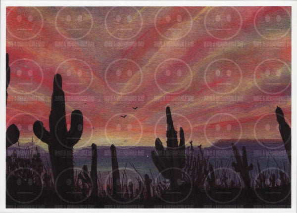 Sunset Saguaro Arizona License Plate Tribute Desert Art Print