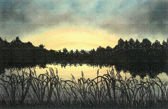 Assateague National Seashore Sunset Silhouette Original Art