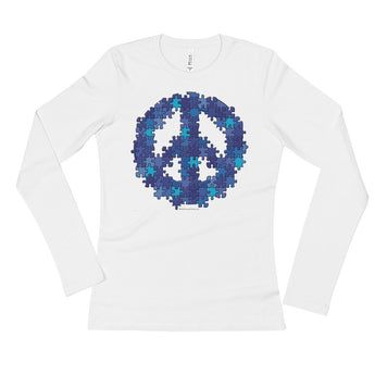 Puzzle Peace Sign Autism Spectrum Asperger Awareness Ladies' Long Sleeve T-Shirt + House Of HaHa Best Cool Funniest Funny Gifts