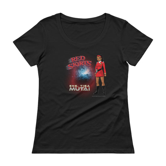 Red Skirts: Ensign Mutai  Ladies' Scoopneck T-Shirt + House Of HaHa Best Cool Funniest Funny T-Shirts