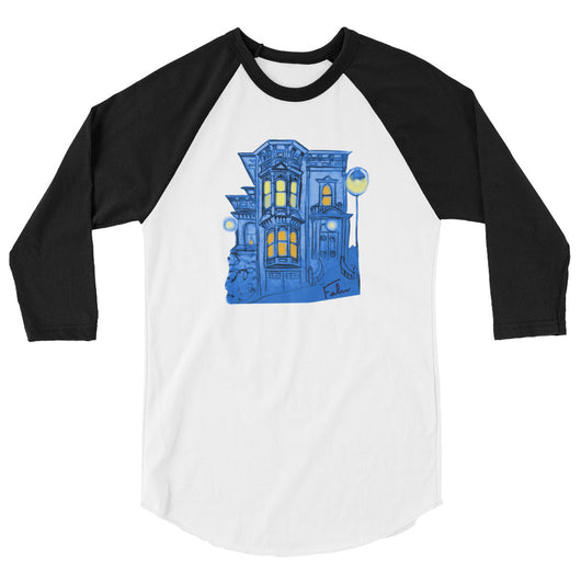 Blue Victorian San Francisco 3/4 Sleeve Raglan Shirt by Nathalie Fabri + House Of HaHa Best Cool Funniest Funny T-Shirts
