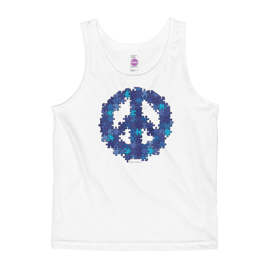 Puzzle Peace Sign Autism Spectrum Asperger Awareness Kids' Tank + House Of HaHa