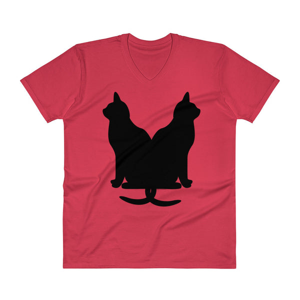 Black Cats Lucky Corset V-Neck T-Shirt + House Of HaHa Best Cool Funniest Funny Gifts