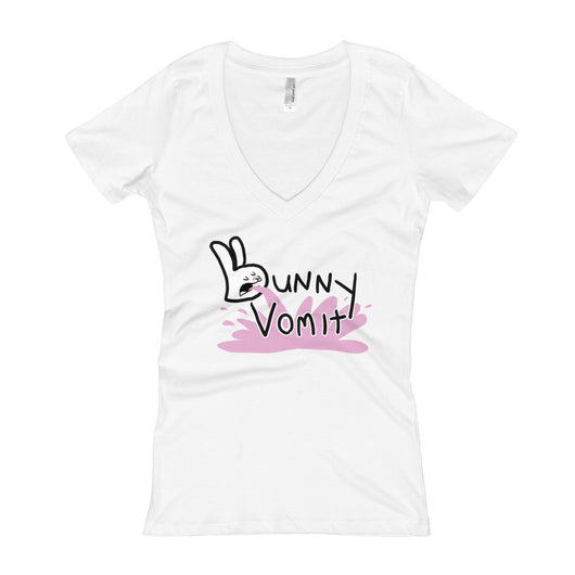Bunny Vomit Logo Women's V-Neck T-Shirt + House Of HaHa Best Cool Funniest Funny T-Shirts