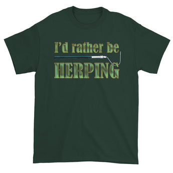 I'd Rather Be Herping Herpetology Snake Lover Herper Men's Short Sleeve T-Shirt + House Of HaHa Best Cool Funniest Funny Gifts