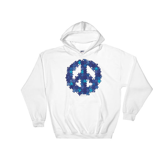 Puzzle Peace Sign Autism Spectrum Asperger Awareness Heavy Hooded Hoodie Sweatshirt + House Of HaHa