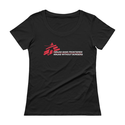 Ninjas without Borders Martial Arts Ninjutsu Fighter Ladies' Scoopneck T-Shirt + House Of HaHa