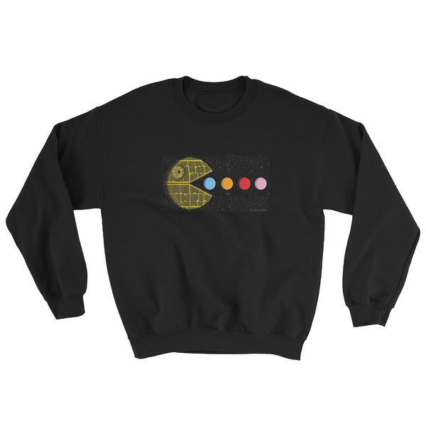 PAC-MOON Death Star Pac-Man Mashup Sweatshirt by Aaron Gardy + House Of HaHa Best Cool Funniest Funny T-Shirts