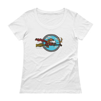 Wizard Flying Ace Ladies' Scoopneck T-Shirt + House Of HaHa Best Cool Funniest Funny Gifts
