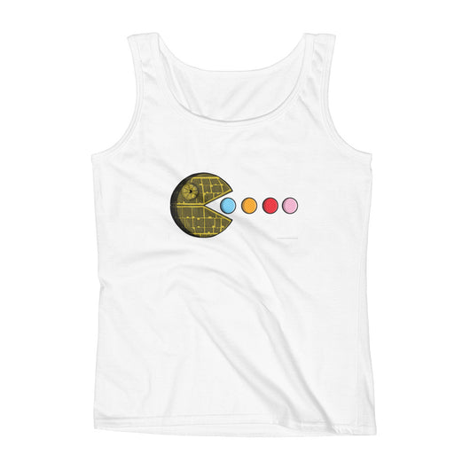 PAC-MOON Death Star Pac-Man Mashup Ladies' Tank Top by Aaron Gardy