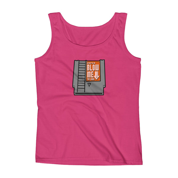 Super Blow Me Nintendo Cartridge Advice Parody Ladies' Tank Top + House Of HaHa
