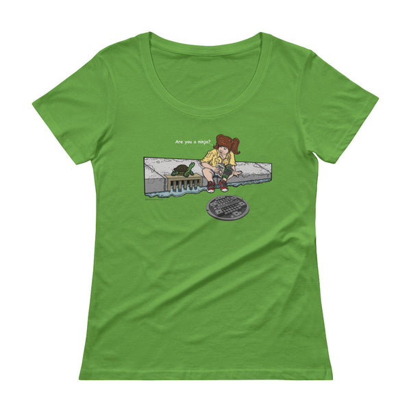 April in New York TMNT Are You a Ninja? Sewer Turtle Ladies' Scoopneck T-Shirt + House Of HaHa Best Cool Funniest Funny Gifts