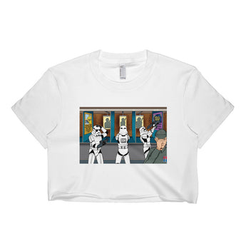 Troopers Shooting Gallery Parody Short Sleeve Crop Top + House Of HaHa Best Cool Funniest Funny Gifts