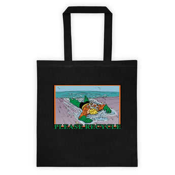 Please Recycle Death of Aquaman Parody Tote Bag + House Of HaHa Best Cool Funniest Funny Gifts