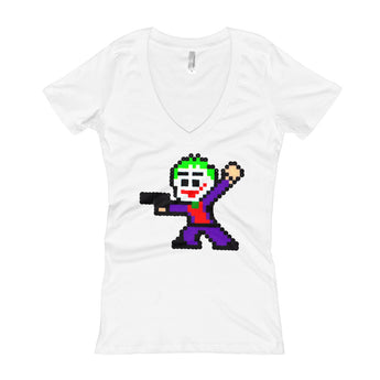Joker Perler Art Women's V-Neck T-shirt by Silva Linings + House Of HaHa Best Cool Funniest Funny Gifts
