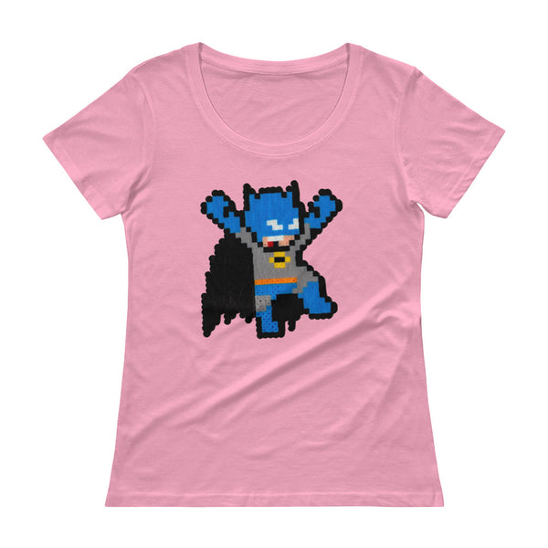 Batman Perler Art Ladies' Scoopneck T-Shirt by Silva Linings + House Of HaHa Best Cool Funniest Funny T-Shirts