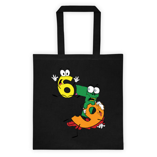 Why was 6 Afraid of 7 Seven Ate Nine Cute Zombie Pun Double Sided Print Tote Bag + House Of HaHa