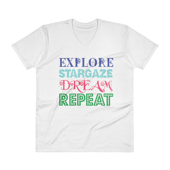 Explore Stargaze Dream Repeat Men's V-Neck T-Shirt + House Of HaHa Best Cool Funniest Funny Gifts