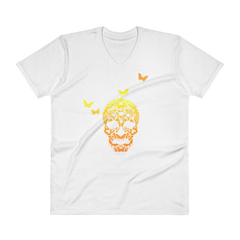 Butterfly Skull Mens' V-Neck T-Shirt + House Of HaHa Best Cool Funniest Funny Gifts