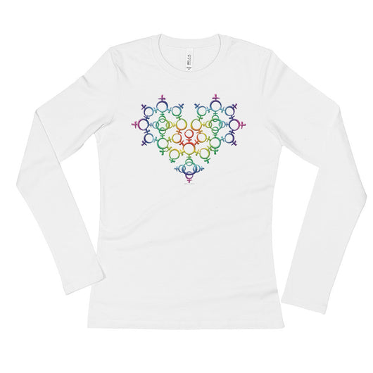 Rainbow Female Gender Venus Symbol Heart Love Unity Ladies' Long Sleeve Women's T-Shirt + House Of HaHa