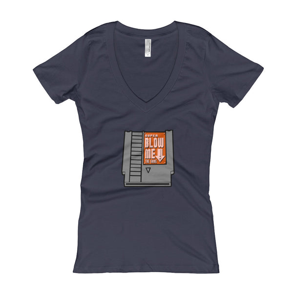 Super Blow Me Nintendo Cartridge Advice Parody Women's V-Neck T-shirt + House Of HaHa