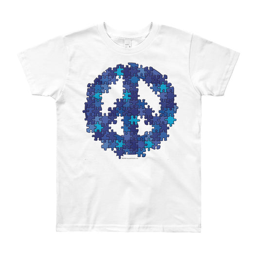 Puzzle Peace Sign Autism Spectrum Asperger Awareness Youth Short Sleeve T-Shirt - Made in USA + House Of HaHa